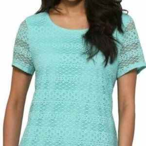 Leo & Nicole Ladies' Short Sleeve Lace Top